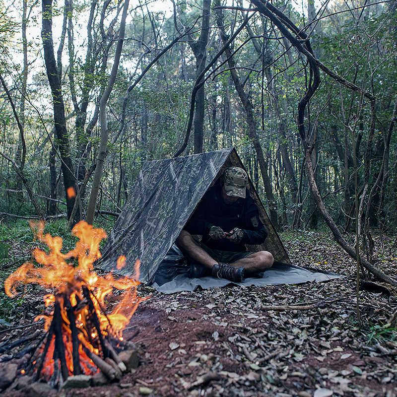 ฟรีทหารกีฬากลางแจ้ง 3 in 1 ยุทธวิธีทหาร Bionic raincoat Rain COVER เต็นท์ awning camping hiking Camouflage Poncho