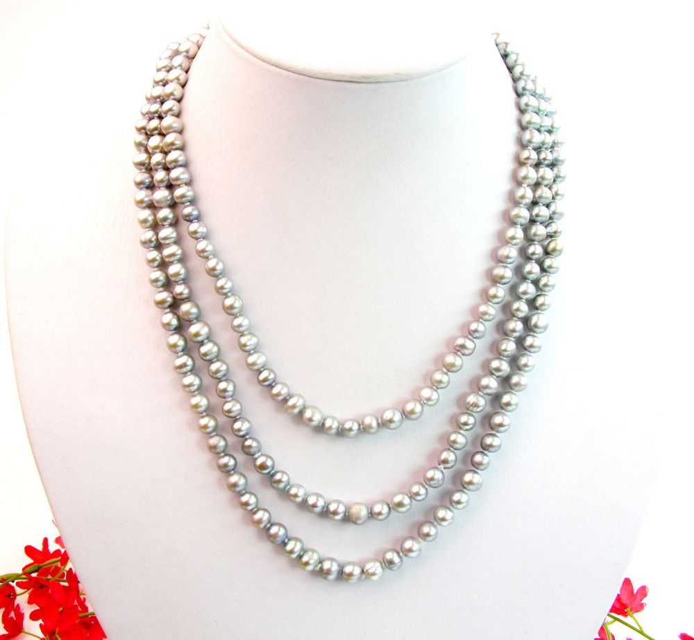 100 Long 8mm Silver Gray Round Shell Pearl Necklace