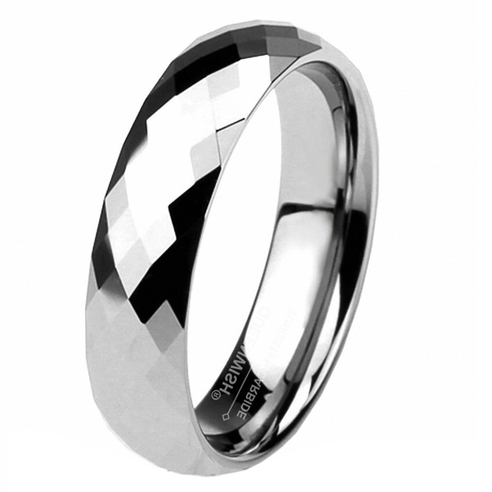 Wedding Bands Classic Bands Faceted Domed Bands Ceramic White 6mm Faceted Polished Band Size 6.5