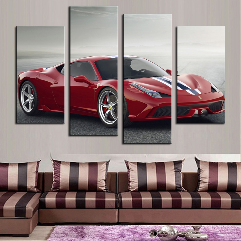 2017 Real New Sale Fallout Oil Painting 4 Pcs Unframed Sports Car Wall Art Picture Home Decoration Living Room Canvas Print