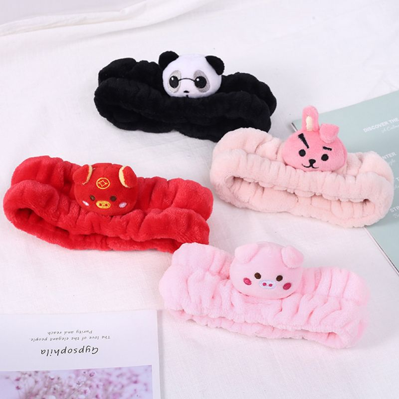 Winter Thicken Pleated Wide Headband Women Girls Cute 3D Pig Rabbit Panda Animal Embroidered Hairband Face Mask Makeup Headwrap