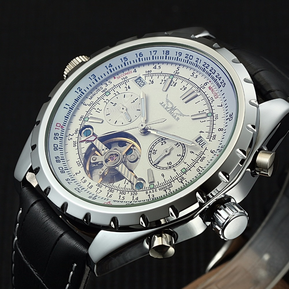 JARAGAR Men Watches Fashion Complete Calendar Leather Band Automatic Mechanical Watches Relogio Masculino все цены