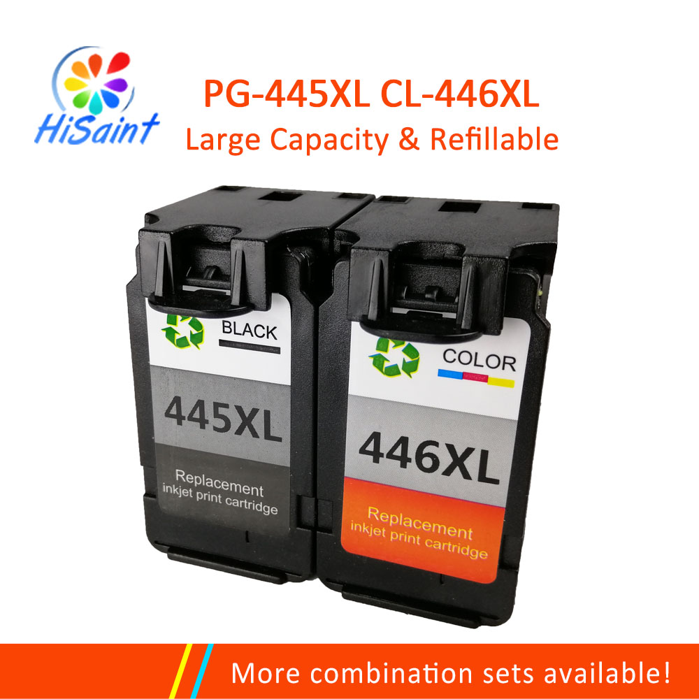 Hisaint 2Pcs Printer Ink Cartridge For Canon 445 446 PG445 CL446 Pixma iP2840 MG2440 Jet Free Shipping