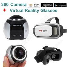 จัดส่งฟรี! 4พัน360องศาWifiกล้องพาโนรามากีฬาการกระทำVRกล้องDVRเศษไม้w/3D VRแว่นตา