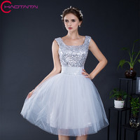 Short Formal Prom Graduation Silver Dresses Knee Length Scoop Neck Sleeveless Tulle Sequined Girl S Little