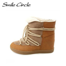 Smile Circle 2017 Winter Shoes For Women Lace-up Wedge Boots Women's High heel Elevator Shoes Ankle Boots Warm Plush Snow Boots