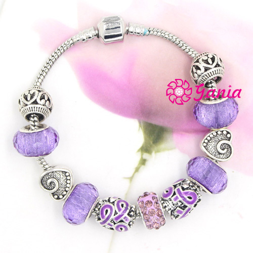 New Arrival Cancer Awareness Jewelry Diy European Style Pancreatic Purple Ribbon Bracelet For