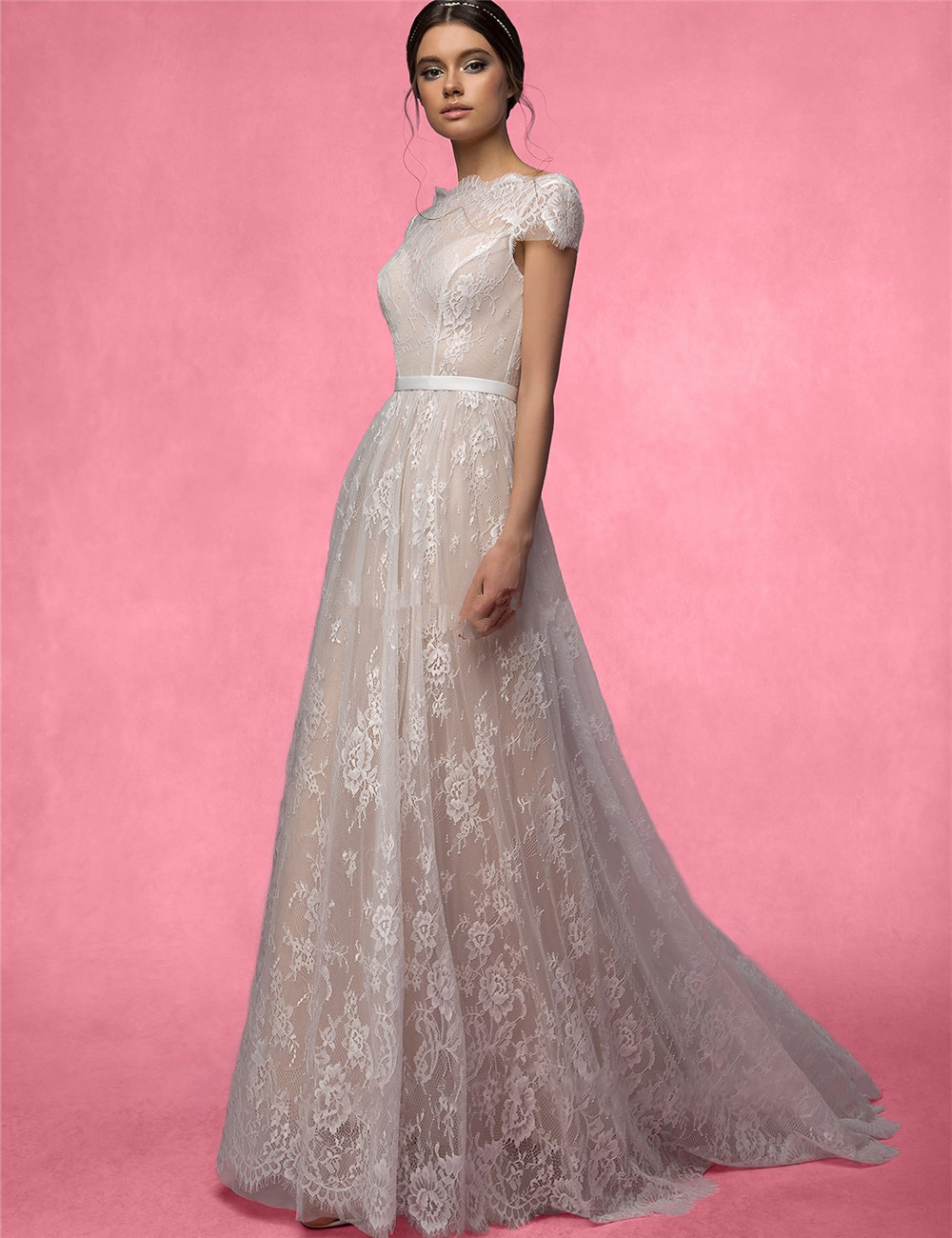Champagne Lace Short Sleeves Boho WEdding Dresses Full Lace Vintage ...
