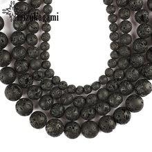 6mm 8mm 10mm 12mm perles de pierre volcanique noire pierre naturelle ronde lâche perle boule bijoux bracelet à bricoler soi-même accessoires faisant