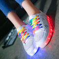 Led luminous 2016 Breathable shoes women casual shoes coloured ribbon