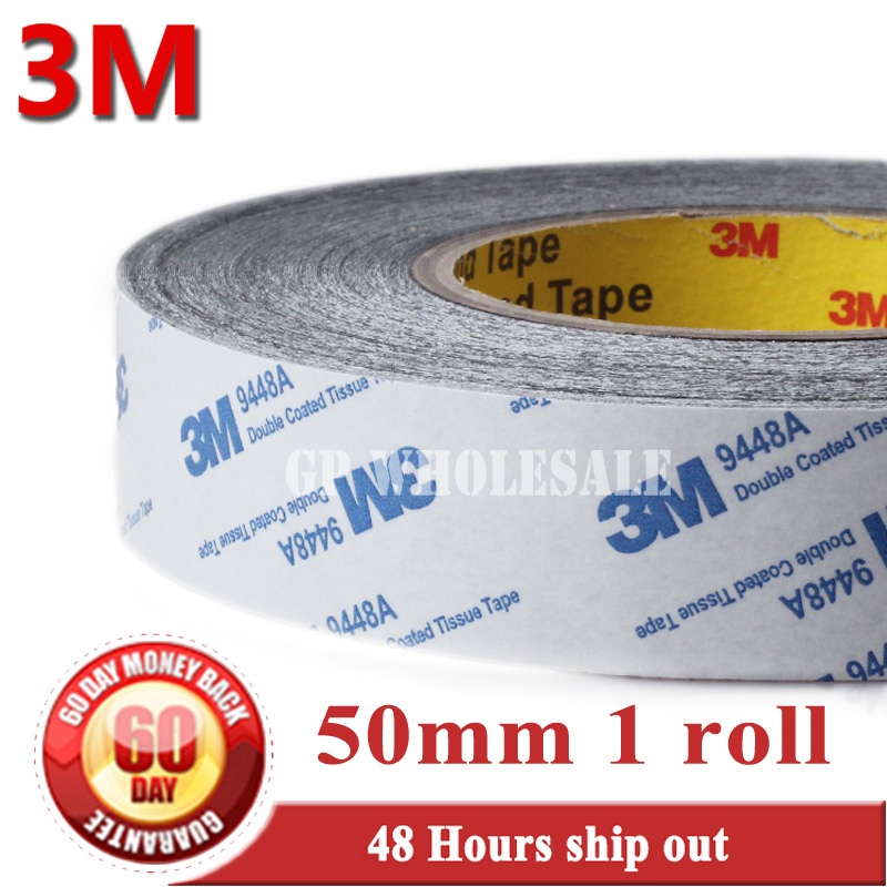 50mm* 50 meters 3M BLACK 9448 Double Sided Adhesive Tape Sticky for LCD /Screen /Touch Dispaly /Housing /LED #973 1x 76mm 50m 3m 9448 black two sided tape for cellphone phone lcd touch panel dispaly screen housing repair