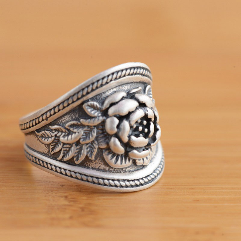 925 Silver Flower Rings For Men Women Jewelry 100% Real S925 Sterling Thai Silver Ring Size 5.5-8