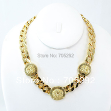 New MENS 3 Face GOLD GREEK CUBAN LINK CHAIN PENDANT NECKLACE