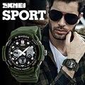 Skmei marca deportiva reloj de cuarzo de alarma de doble pantalla digital de pulsera de los hombres al aire libre militar led relojes casuales