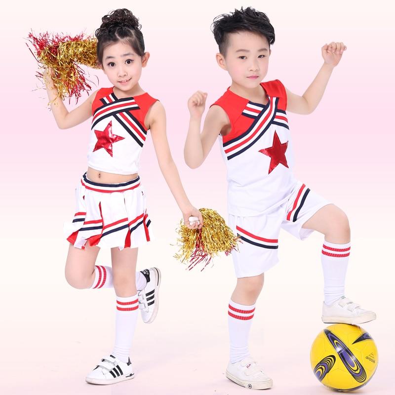 Children Cheerleader Costume Girls Cheerleading Gymnastics Wear Costumes Boy Costume ...