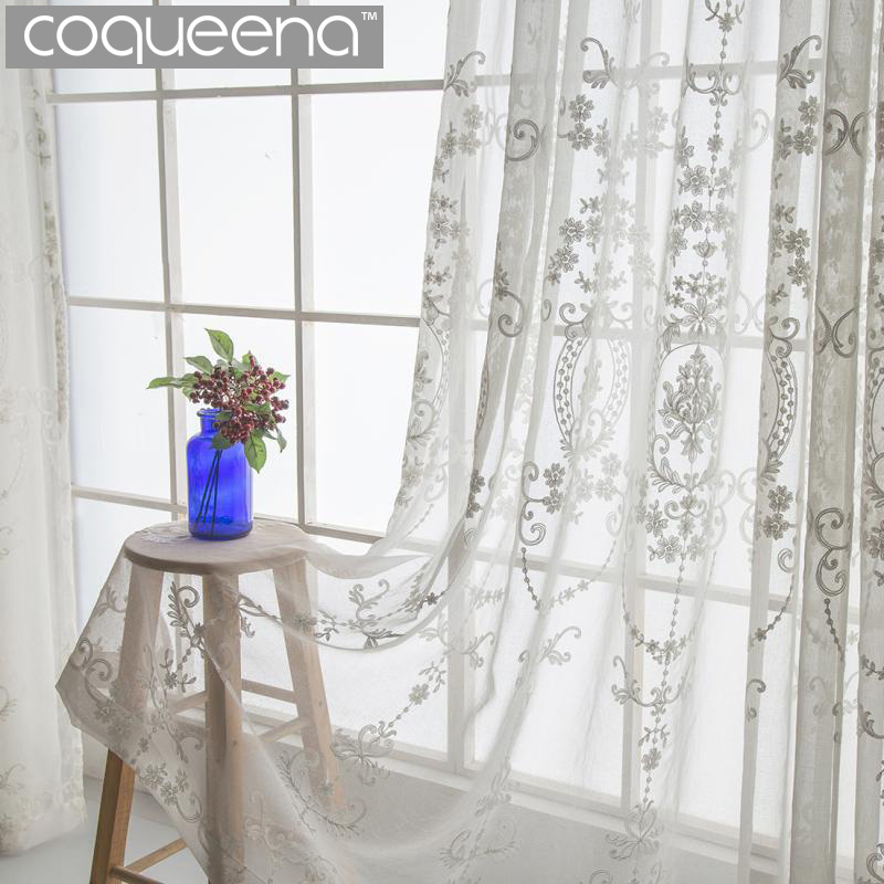 Embroidered Tulle Window Curtain Drapes For Living Room