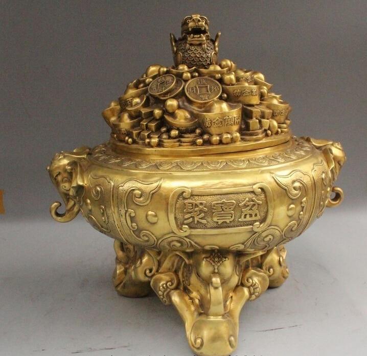"""19"""" China Chinese Palace Bronze Yuanbao treasure bowl Wealth elephant incense incense incense incense   - title="""