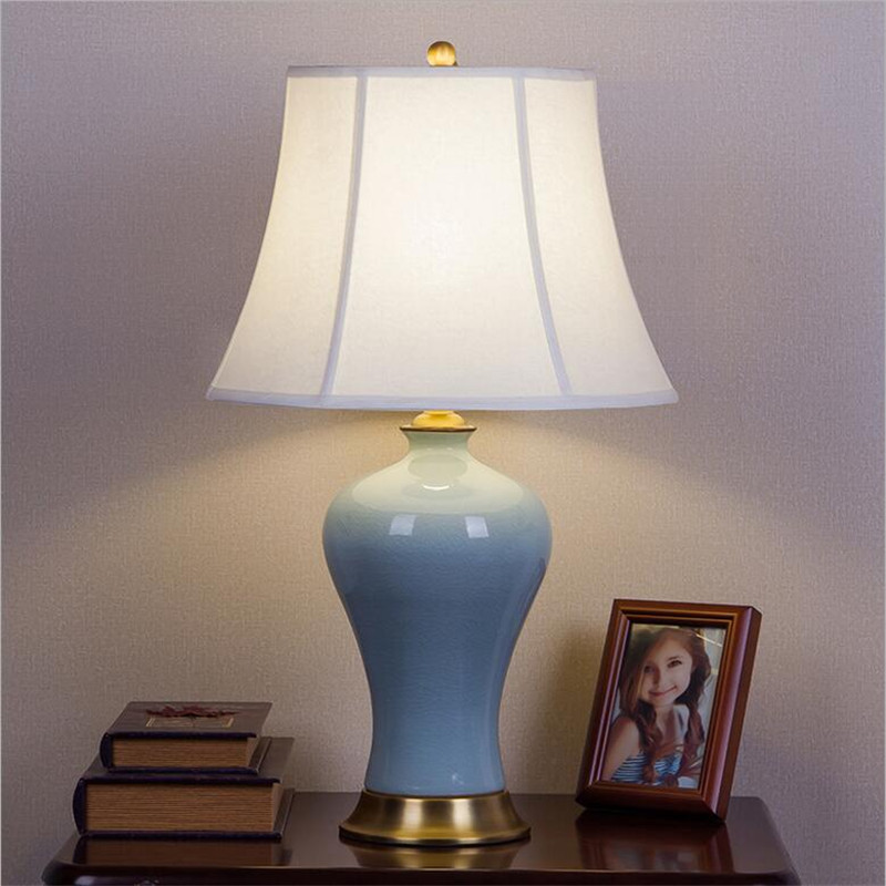 High End 100 Handmade Chinese Blue Ceramic Fabric Led E27 Table Lamp For Living Room Wedding