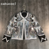 Cakucool Women Shiny Jacket 2019 Silver Sequins Geometric Bomber Jackets O neck Nationality Embroid Coat Casual Outerwear Female
