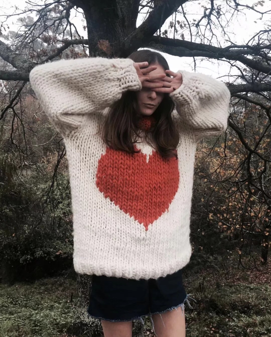 Ky&Q 2017 Chunky Fluffy Jumper Winter Oversized Red Heart Knitted ...
