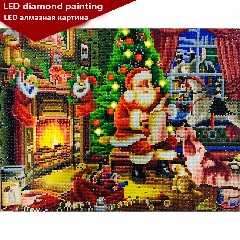 new LED Light Full Round Drill 5D DIY Diamond Painting Santa Claus 3D Embroidery Cross Stitch