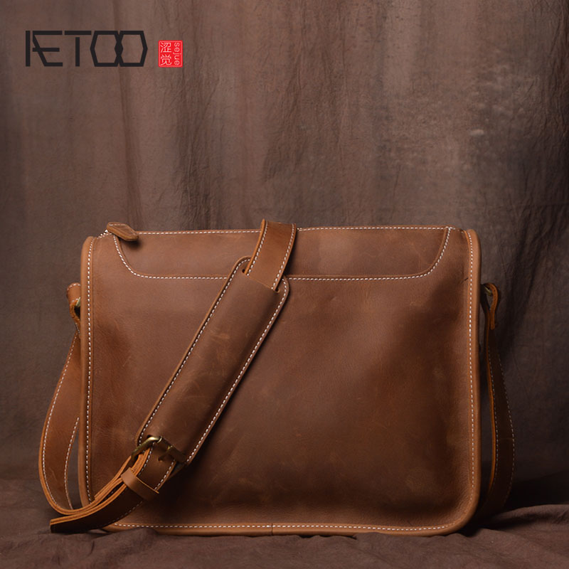AETOO Handmade original retro first layer cowhide men bag casual mad horse leather shoulder bag simple leather messenger bag aetoo women retro shoulder bag fashion handbags europe and america shoulder bag head layer cowhide mad horse shopping bag