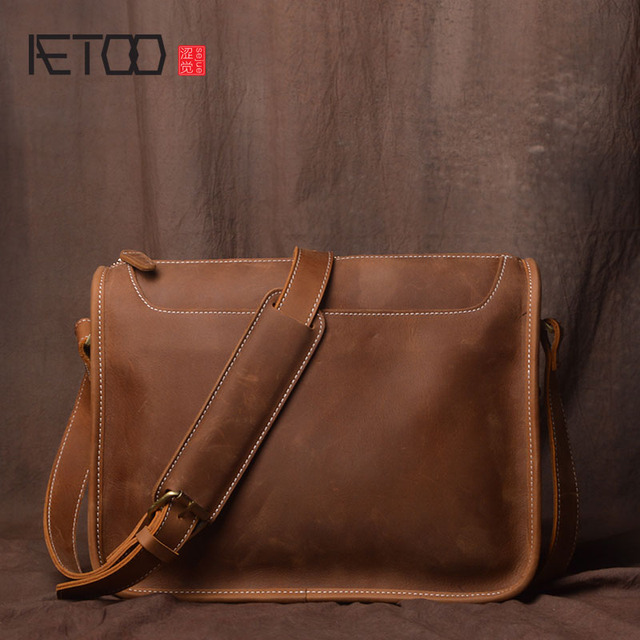 Aetoo Handmade Original Retro First Layer Cowhide Men Bag Casual Mad Horse Leather Shoulder Simple