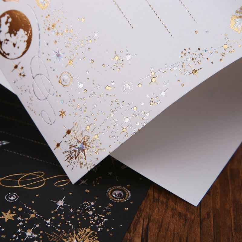 8 แผ่น High-end VINTAGE Bronzing Feather Blessing Letter กระดาษอุปกรณ์สำนักงานโรงเรียน