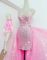 Женский костюм модные розовые стразы короткое платье; пряжи хвост танец наряды Ночной клуб бар выступление певицы танцовщицы этап носит