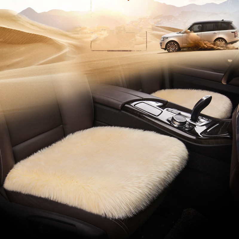 3PCS SET Car Seat Cover Natural Sheepskin Faux Fur Long Simple Warm Winter Car Seat Cushion Fur Plush Universal Size 5 Colors in Automobiles Seat Covers from Automobiles Motorcycles