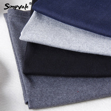 SIMPVALE Women Thick Sexy Chic Pencil Skirts Office Look Natural Waist Mid-Calf Solid Skirt Casual Slim Hip Placketing