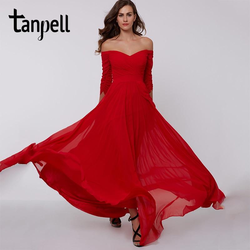 fd4792879f6b6 DressV red A-line long evening dress cheap off the shoulder zipper up 3/4  length sleeves pleats ruched chiffon evening dress