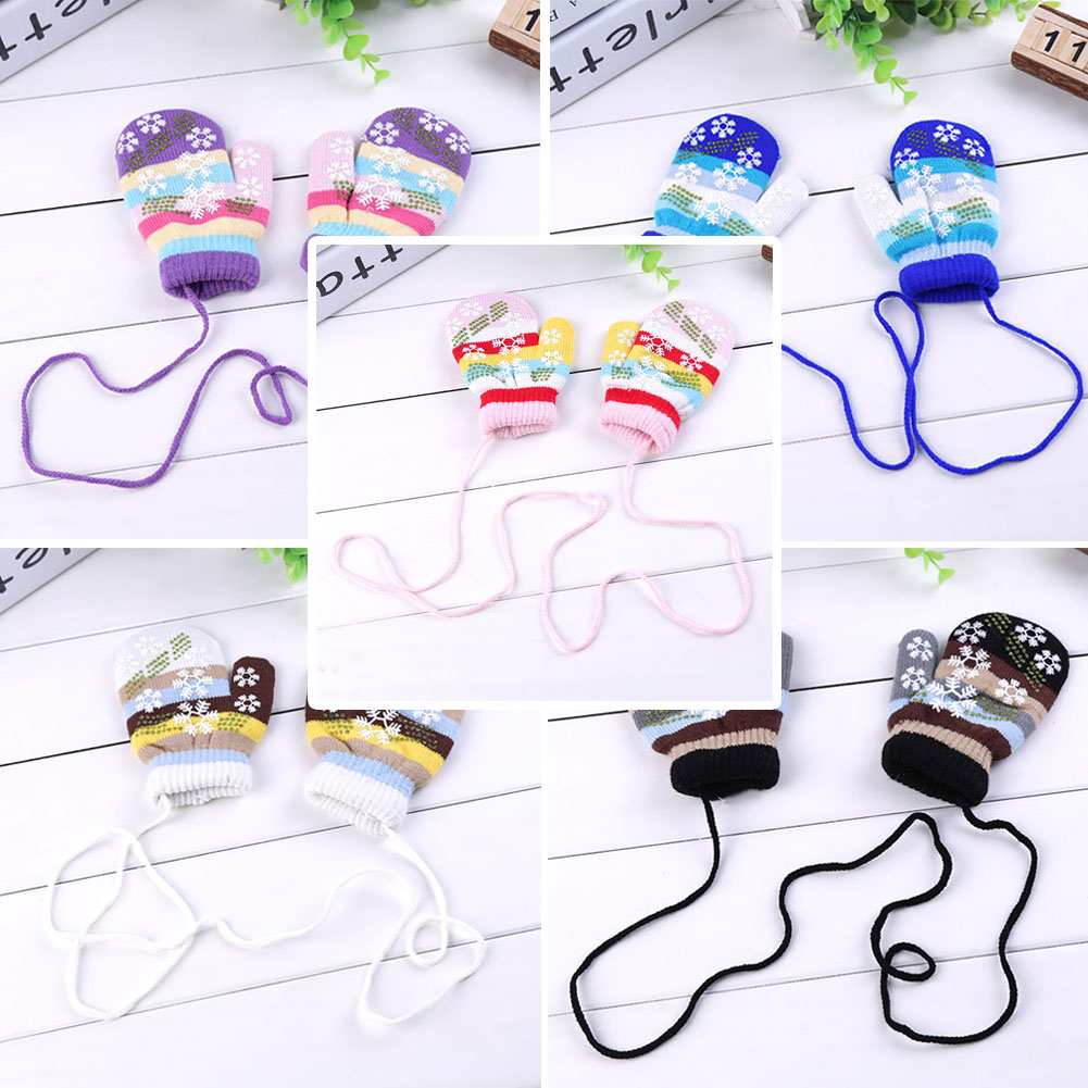 Fashion Winter Warm Snowflake Mittens Glove Kid Children Girl's Cute Lanyard Luvas Whole Covered Finger Halter Gloves