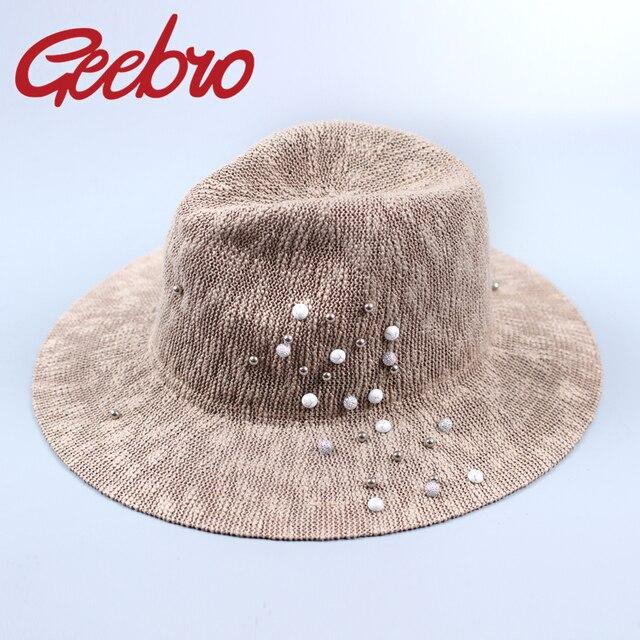 Panamá Chapéus De Palha Para As Mulheres Viseira Verão das mulheres Chapéu  de Praia Com Pérolas 116c7d16991