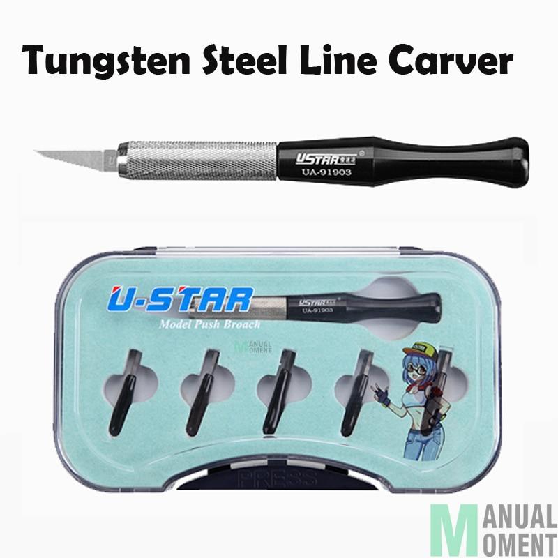 USTAR UA-91903 Tungsten Steel Line Carver Model Push Broach Carved Sword DIY Hobby Cutting Tools Accessory