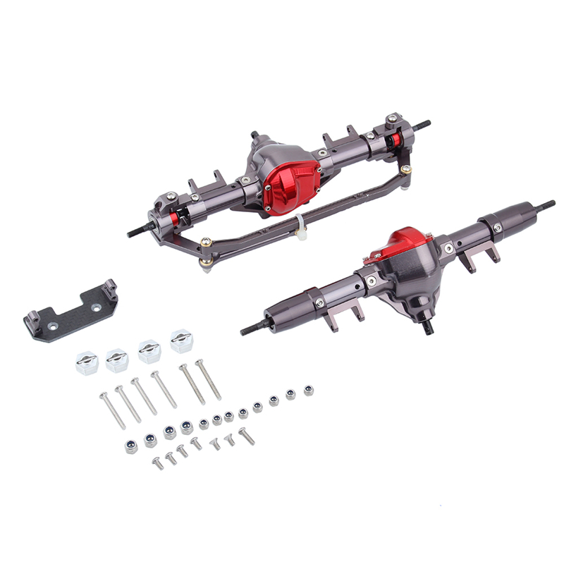 купить 1/10 Rc Car Complete Alloy Front And Rear Axle CNC Machined for 1:10 Rc Crawler AXIAL SCX10 D90 Truck RC Toys Parts Accessories по цене 6388.37 рублей