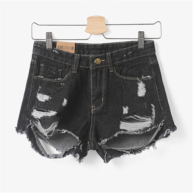 European Women Destroyed Hole Tassel Shorts Feminino Short Jeans Female Denim Dirty Lady Frayed Summer Super Quality Zipper D027