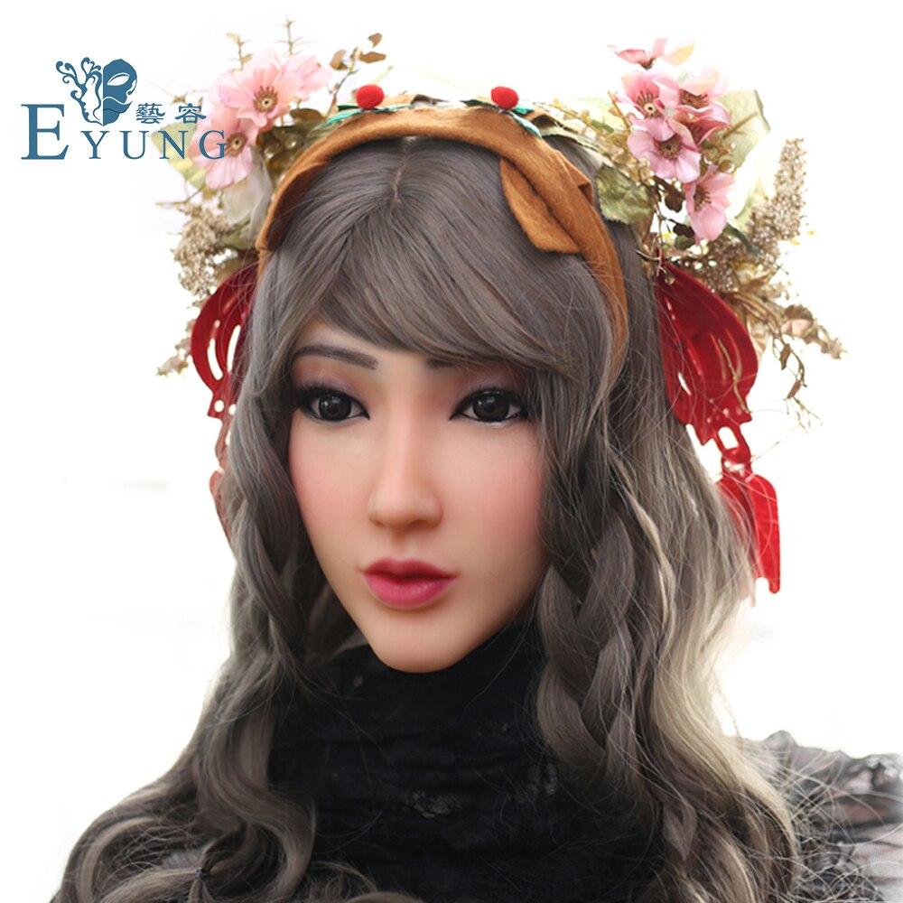 Christina EYUNG anjo rosto realista silicone feminino masquerade Halloween cosplay crossdresser drag queen Cobrir cicatrizes faciais