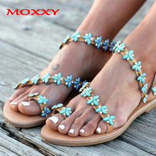 купить Plus Size 43 Blue Flower Gladiator Sandals Women Sandals Flat Ladies Boho Slippers Summer Beach Shoes Woman sandales femme 2019 по цене 1300.78 рублей