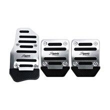 3pcs Silver Aluminum Non-Slip Manual Car Pedal Cover Set Kit Pedali Foot Treadle Non-slip Universal Car-styling
