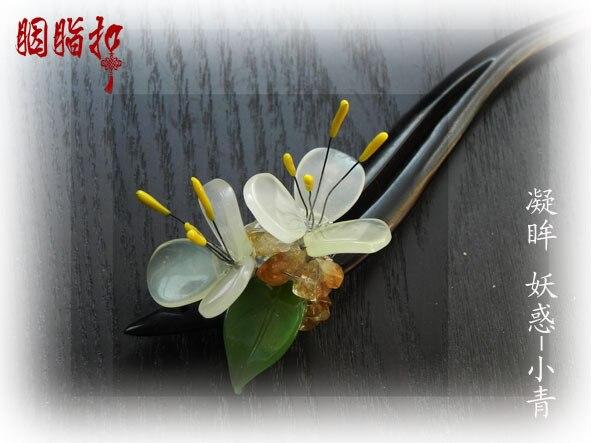 ФОТО White Jade Black Ebony Sandalwood Hair Stick  hanfu accessories classical hair stick handmade hair stick