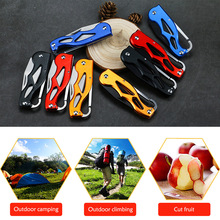 цена на Mini Pocket Foldable Knife Portable Key Ring Camping Multifunction Peeler Keychain Tactical Rescue Survival Outdoor Tool 1pcs