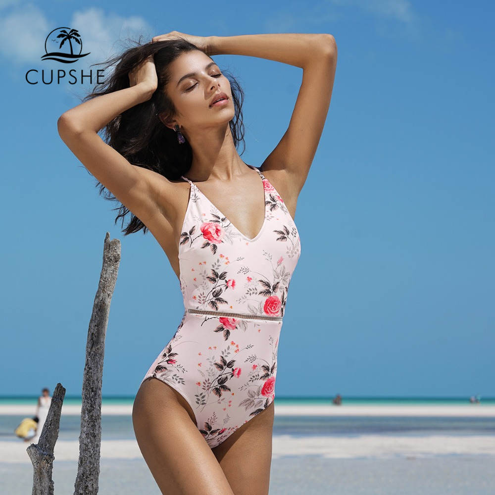 цены CUPSHE 2018 Pink Floral Print One-piece Swimsuit Women Deep V neck Sexy Bikini Monokini 2018 Girl Beach Bathing Suit Swimwear
