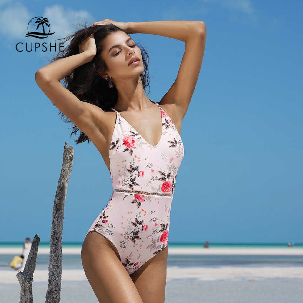 5e107d614247 CUPSHE 2018 Pink Floral Print One-piece Swimsuit Women Deep V neck Sexy  Bikini Monokini