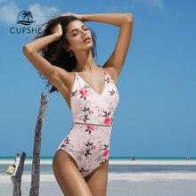 CUPSHE 2020 ורוד פרחוני הדפסת מקשה אחת בגד ים נשים V העמוק צוואר סקסי ביקיני Monokini 2020 ילדה חוף רחצה חליפת בגדי ים