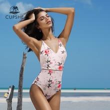 Cupshe 2020 Màu Hồng Họa Tiết 1 Đầm Nữ Cổ V Sâu Gợi Cảm Bikini Đồ Bơi Monokini 2020 Cô Gái Đi Biển Tắm phù Hợp Với Đồ Bơi
