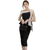 สไตล์เกาหลีผู้หญิงP Eplumชุดเฉือนคอโบว์โบว์B Odyconผ้าพันคอชุดสีดำกับสีขาวปกเซ็กซี่ขาขึ้นสำนักง...
