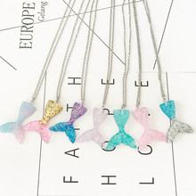 10pcs/lot Glitter Mermaid Tail Pendant Necklace 45cm 50cm 60cm Stainless Steel Chain Necklace Cute Birthday Gift Handmade(China)