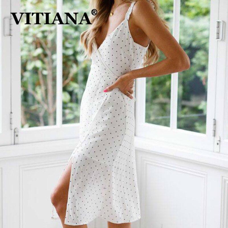 VITIANA Women White Beach Party Dress Summer 2019 Female Dot Print  Strapless Spaghetti Strap Lace Up Sexy Dresses Vestidos