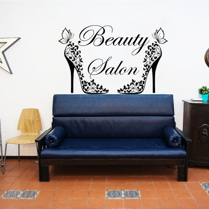 Beauty Salon Creative Butterflies Shoes Wall Sticker Vinyl Removable Home Decor Fashion Wall Decals